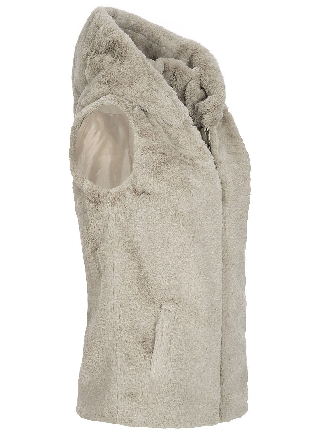 reputable site 025ad 3a3e5 ONLY Damen Weste Kapuze Teddyfell pure cashmere beige