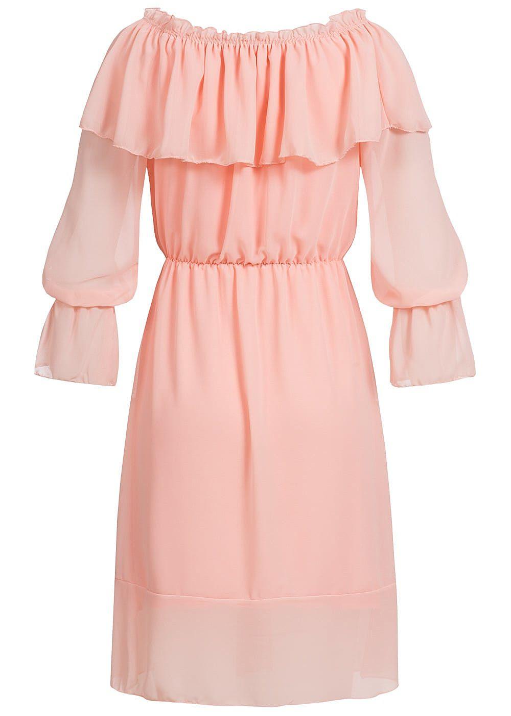 Styleboom Fashion Damen Chiffon Kleid Trompeten Ärmel rosa