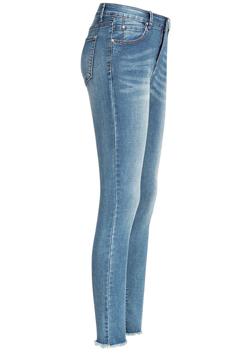 ab21fab17149 Hailys Damen Skinny Jeans Hose 5-Pockets Knöchellang Fransen Regular ...