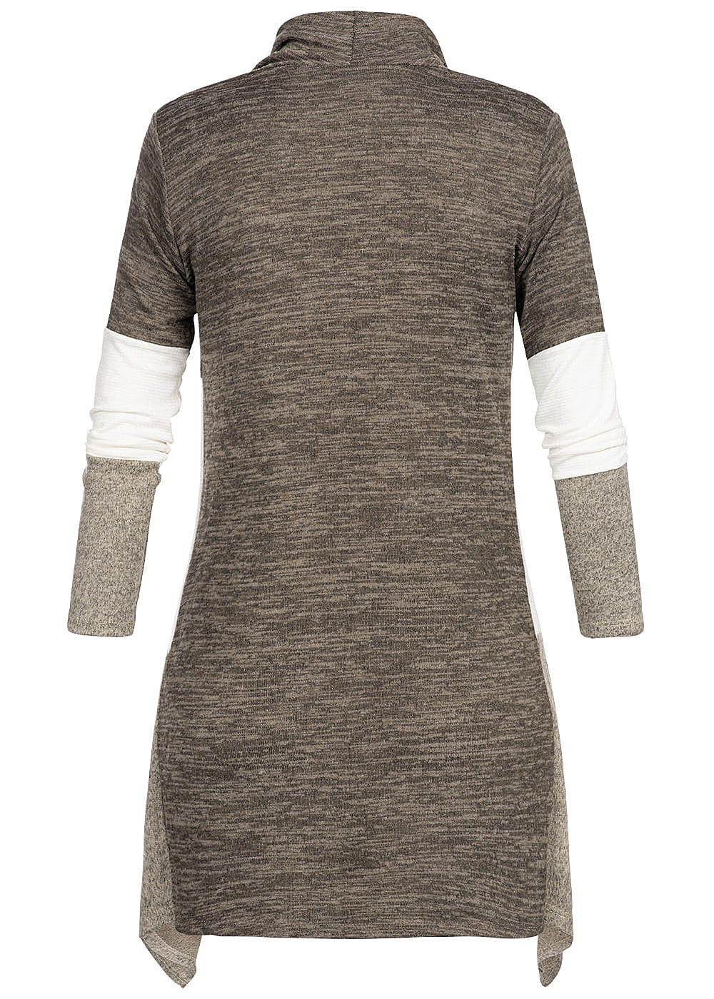 043a7d092445 Styleboom Fashion Damen Cardigan Colorblock fango braun weiss beige ...