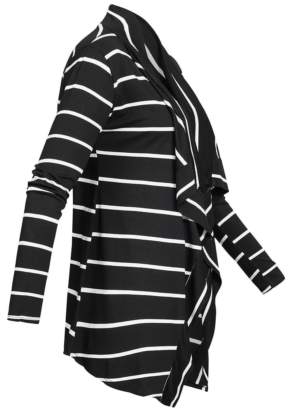Styleboom Fashion Damen Cardigan Streifen Muster schwarz weiss