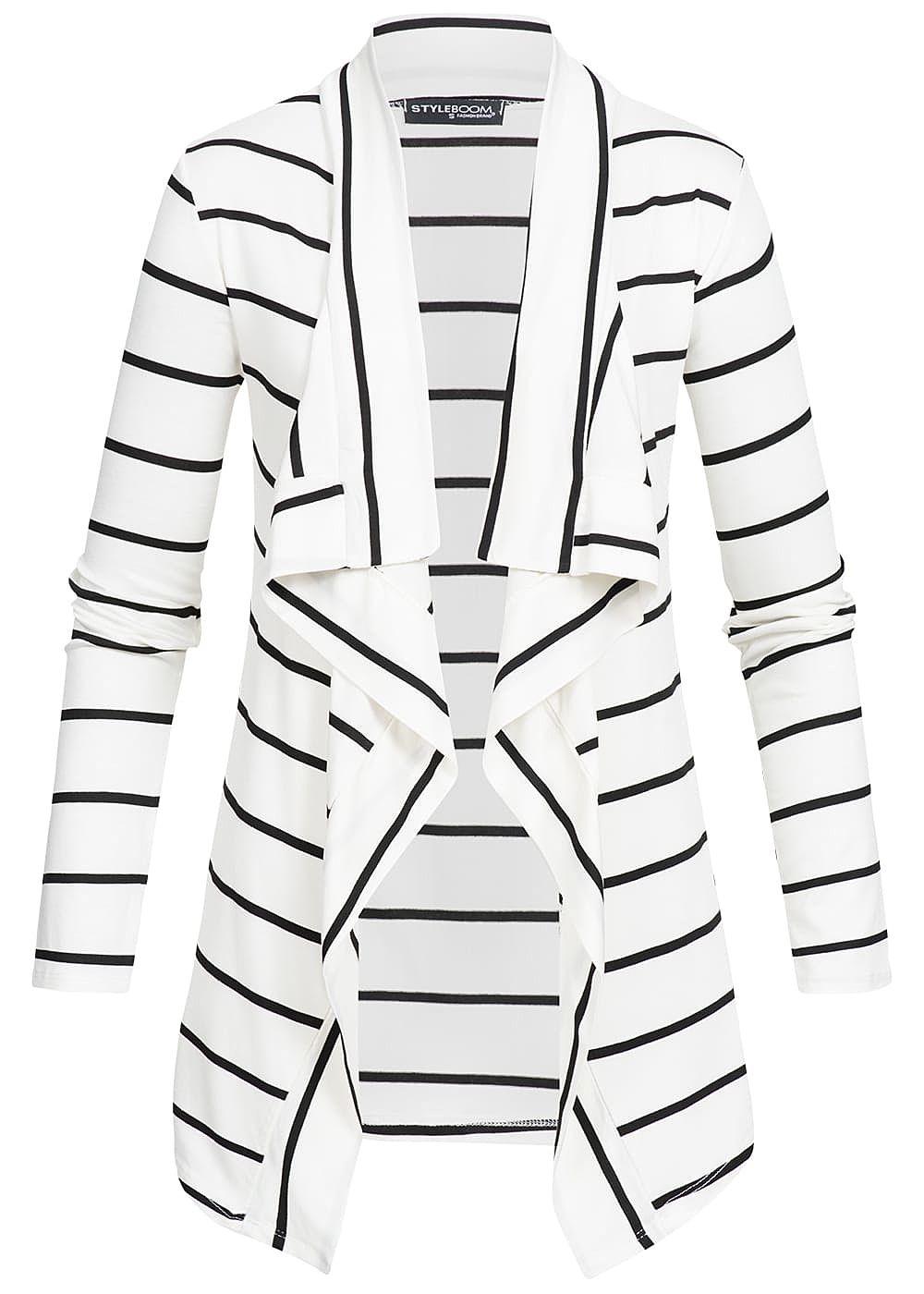 Styleboom Fashion Damen Cardigan Streifen Muster weiss