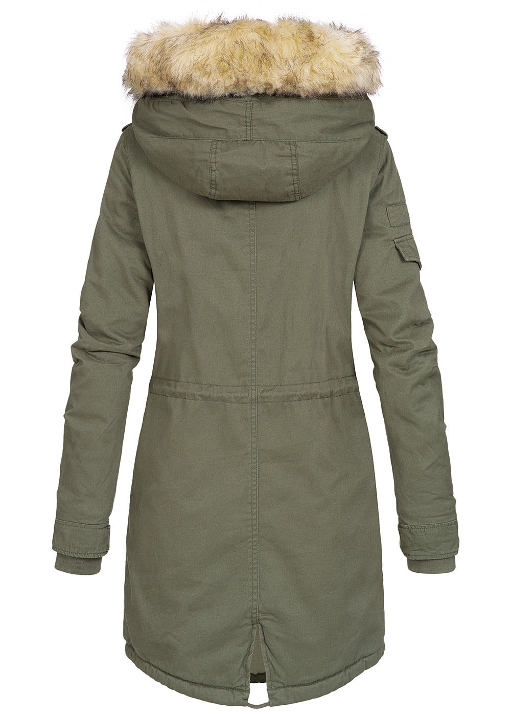 best service 990e4 e2410 ONLY Damen Winterparka Jacke Kapuze 2 Taschen Teddyfell grape leaf olive  grün