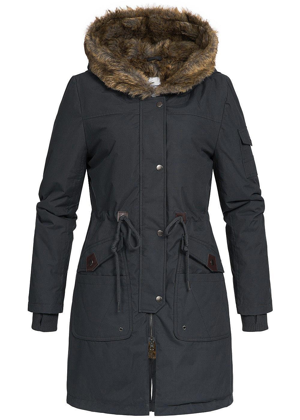 Seventyseven Damen Winter Mantel Jacke Kapuze Kunstfell 5 Taschen schwarz