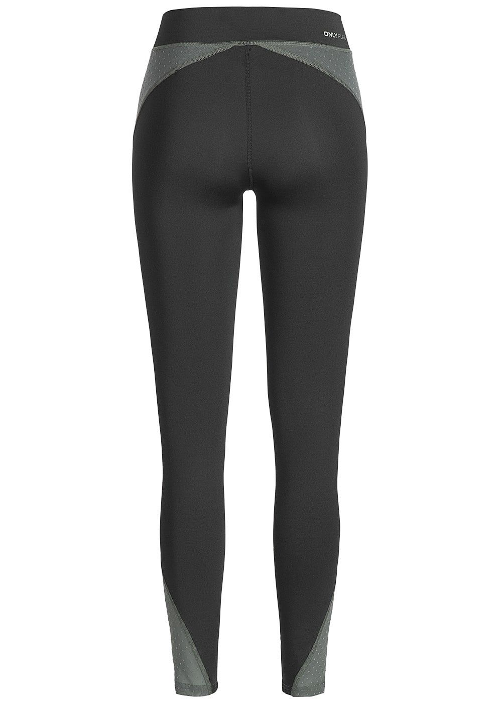 many fashionable coupon code new lifestyle ONLY PLAY Damen Trainings Tights Leggings mit Logo Print Mesh Optik schwarz  olive