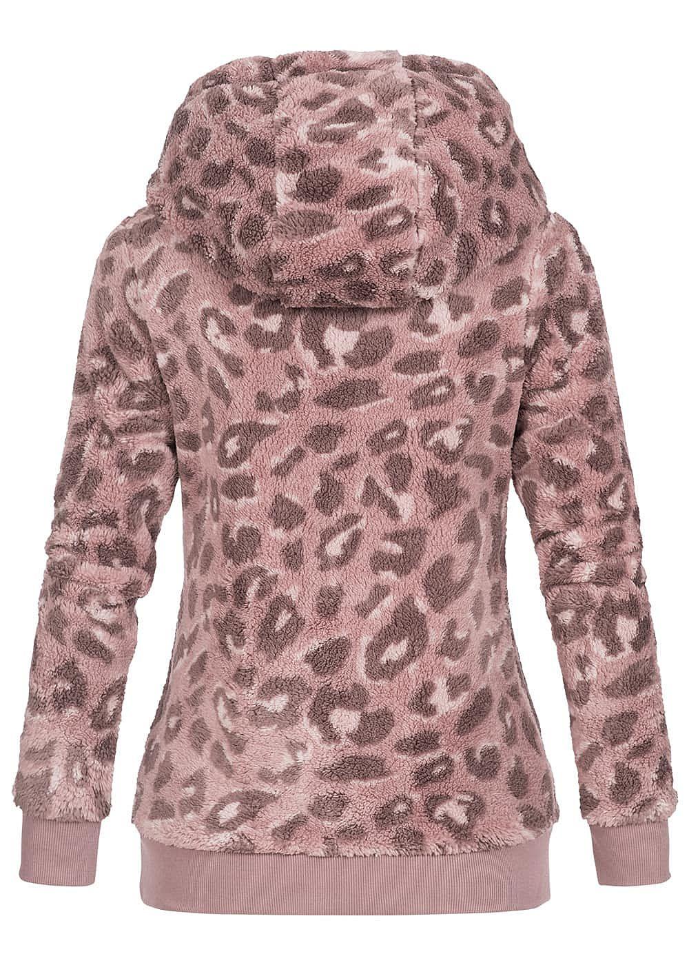Eight2Nine Damen Fleece Hoodie Kapuze Leo Print 2 Taschen by