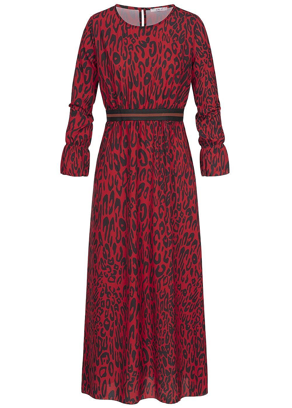 Hailys Damen Longform Kleid Leo Print Gummibund rot schwarz