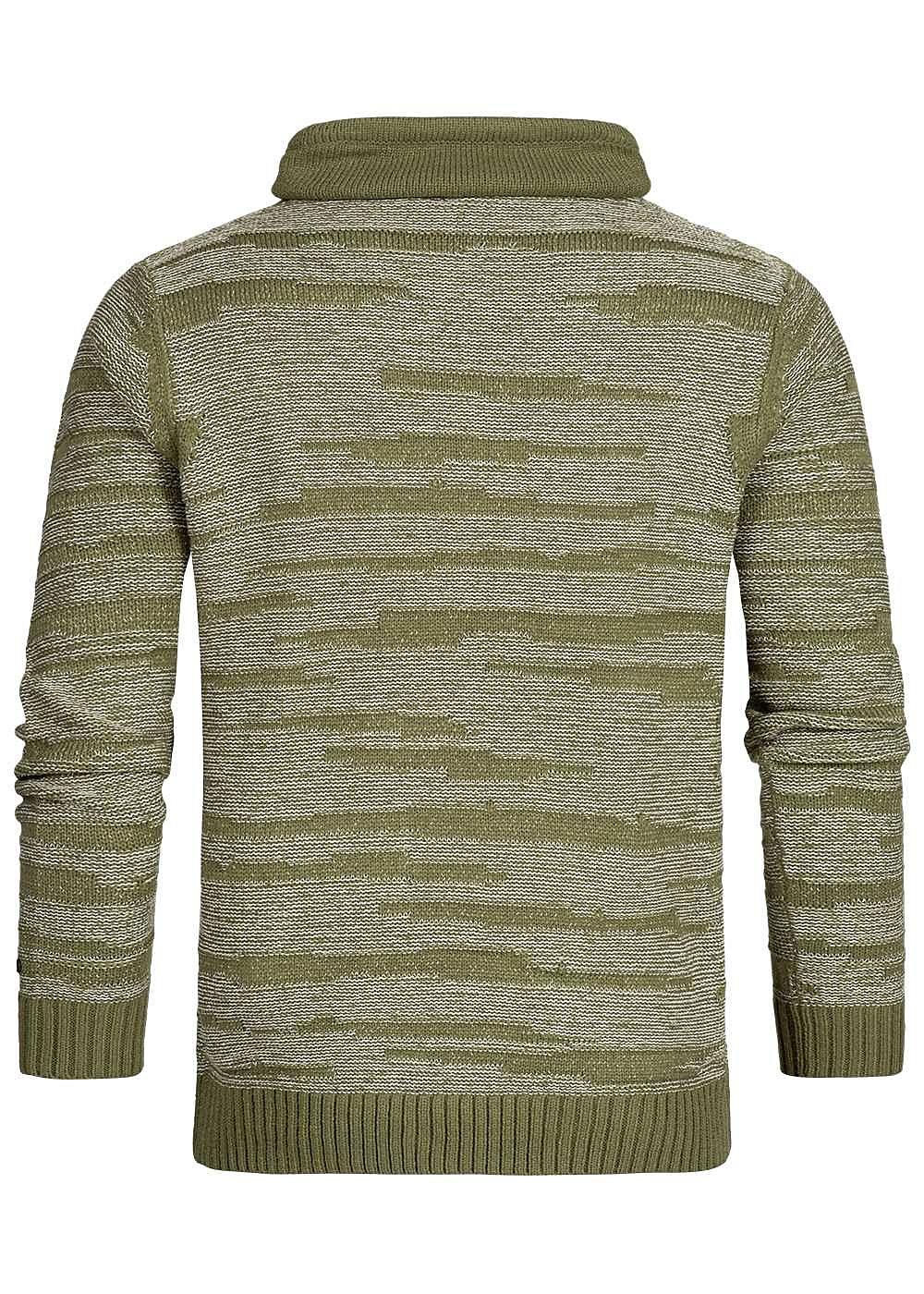 4c5d7afcabc80 Hailys Men High-Neck Sweater khaki grün weiss - 77onlineshop