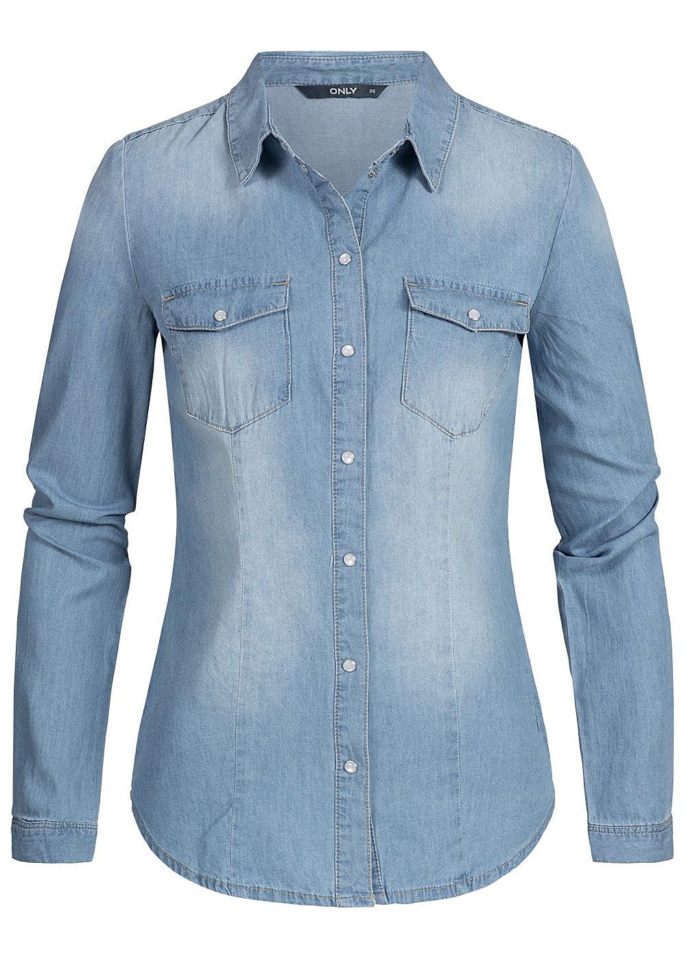 ONLY Damen Jeans Hemd 2 Brusttaschen NOOS hell blau denim - 77onlineshop 5bf6a4bdaa