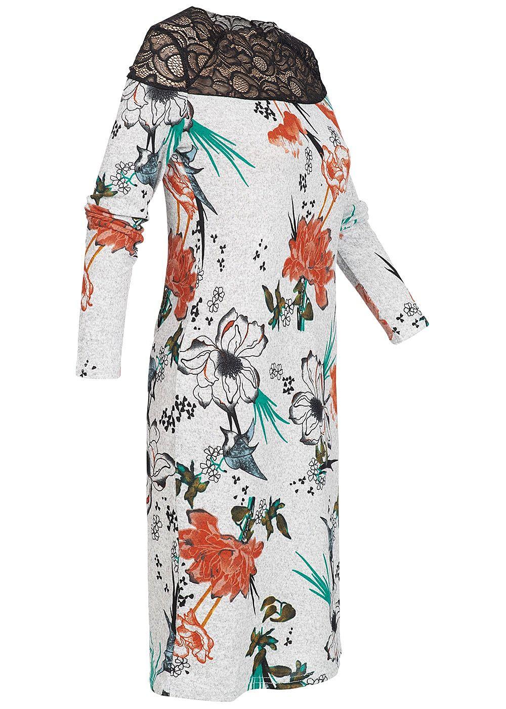 ONLY Damen Kleid Spitze oben Florales Muster hell grau ...