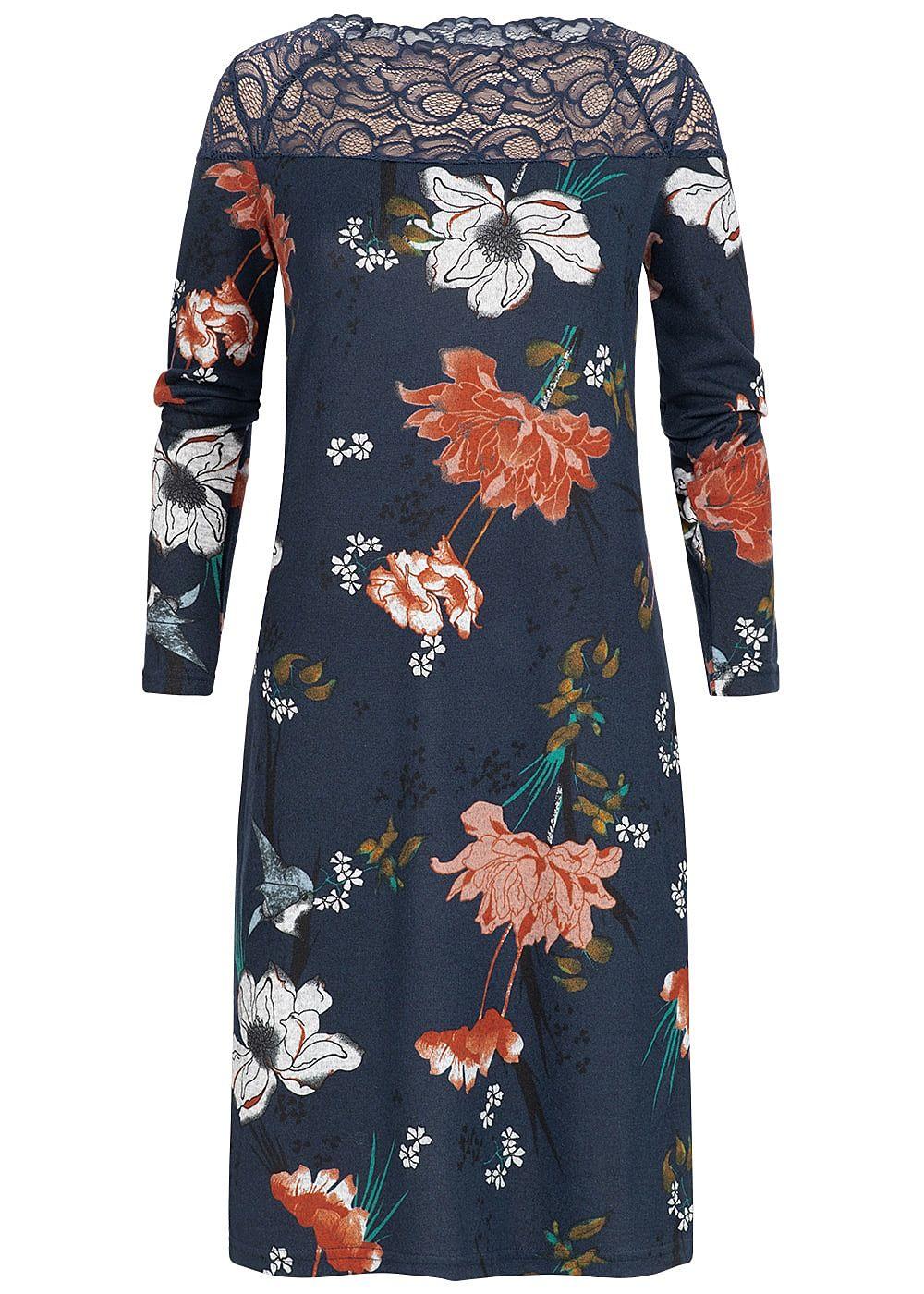 ONLY Damen Kleid Spitze oben Florales Muster night sky blau rot