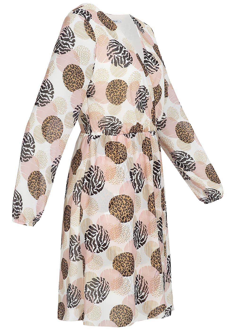 Hailys Damen Kleid Punkte Muster rosa weiss braun schwarz ...