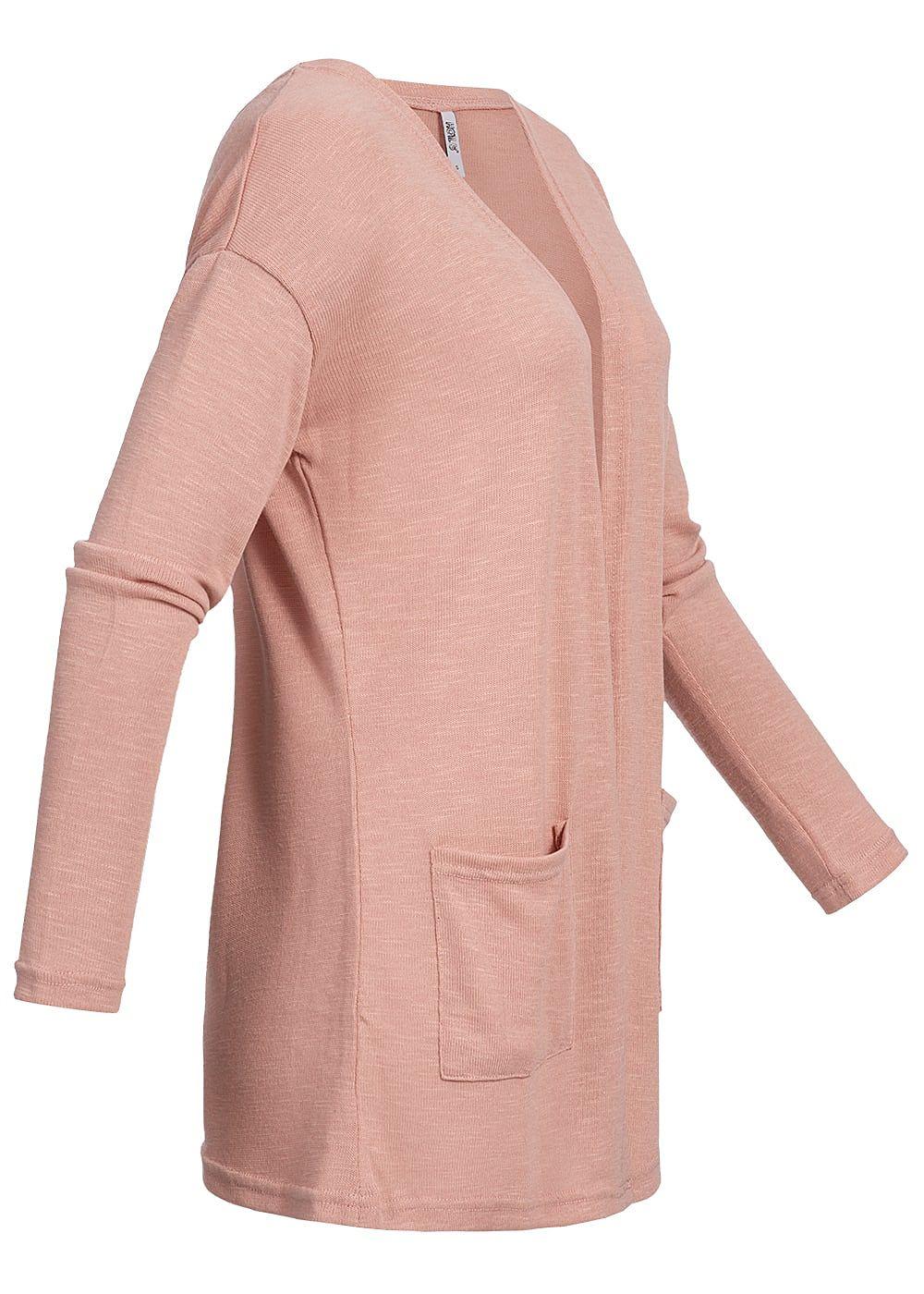 87ccb50120e188 Hailys Damen Kurz Cardigan 2 Taschen rosa - 77onlineshop