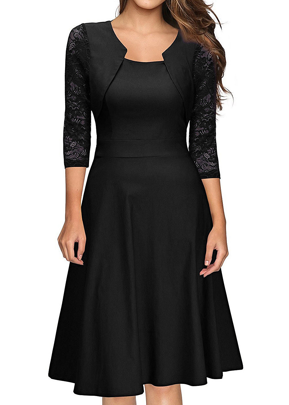 Styleboom Fashion Damen 11/11 Arm Spitzen Kleid schwarz