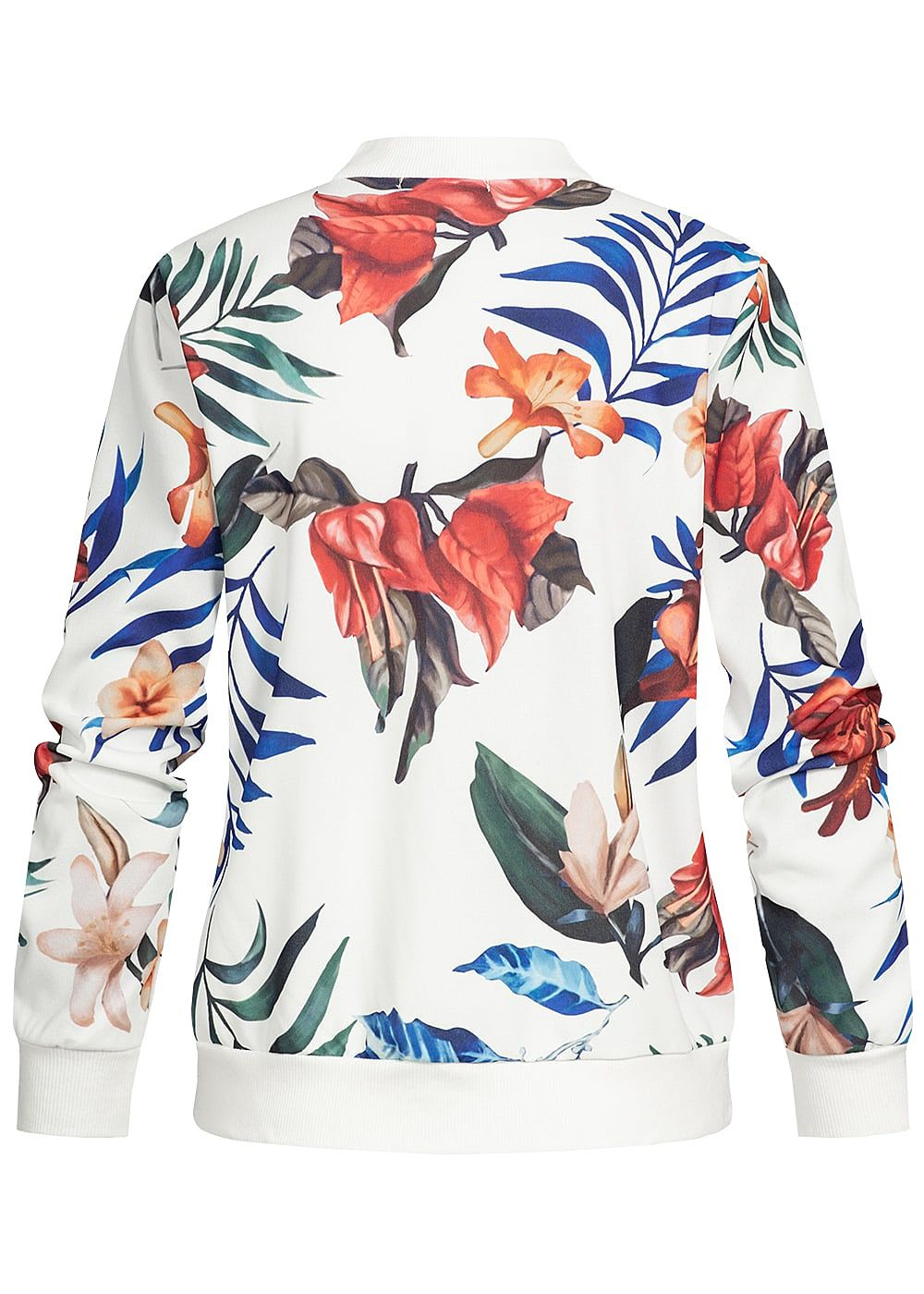 Styleboom Fashion Damen Blouson Jacket Tropical Print navy