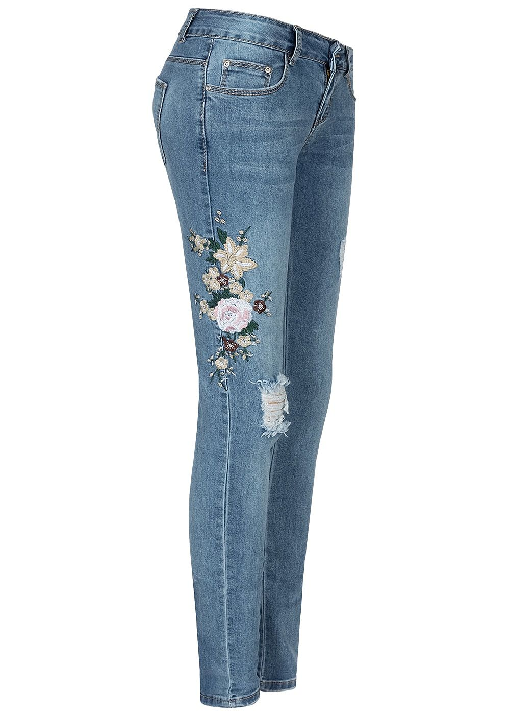 Seventyseven Lifestyle Damen Skinny Jeans 5 Pockets Floral