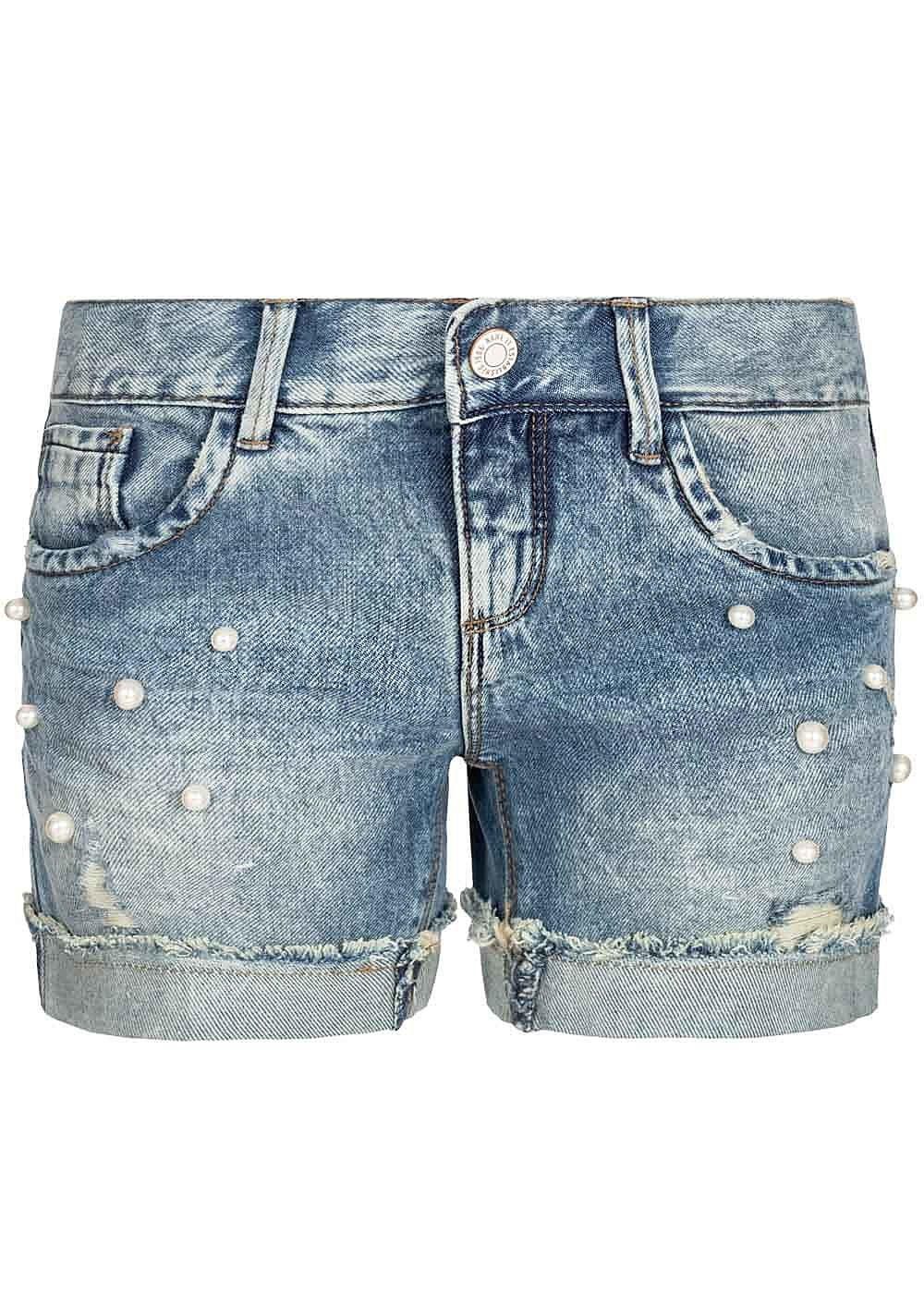 Outlet zu verkaufen sehen begrenzter Stil Name It Kids Mädchen Jeans Shorts Deco Pearls 5-Pockets NOOS hell blau denim