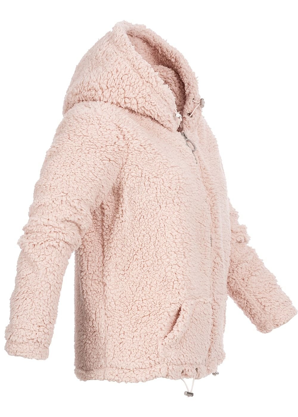 hailys damen teddyfell cardigan 2 pockets kapuze rosa