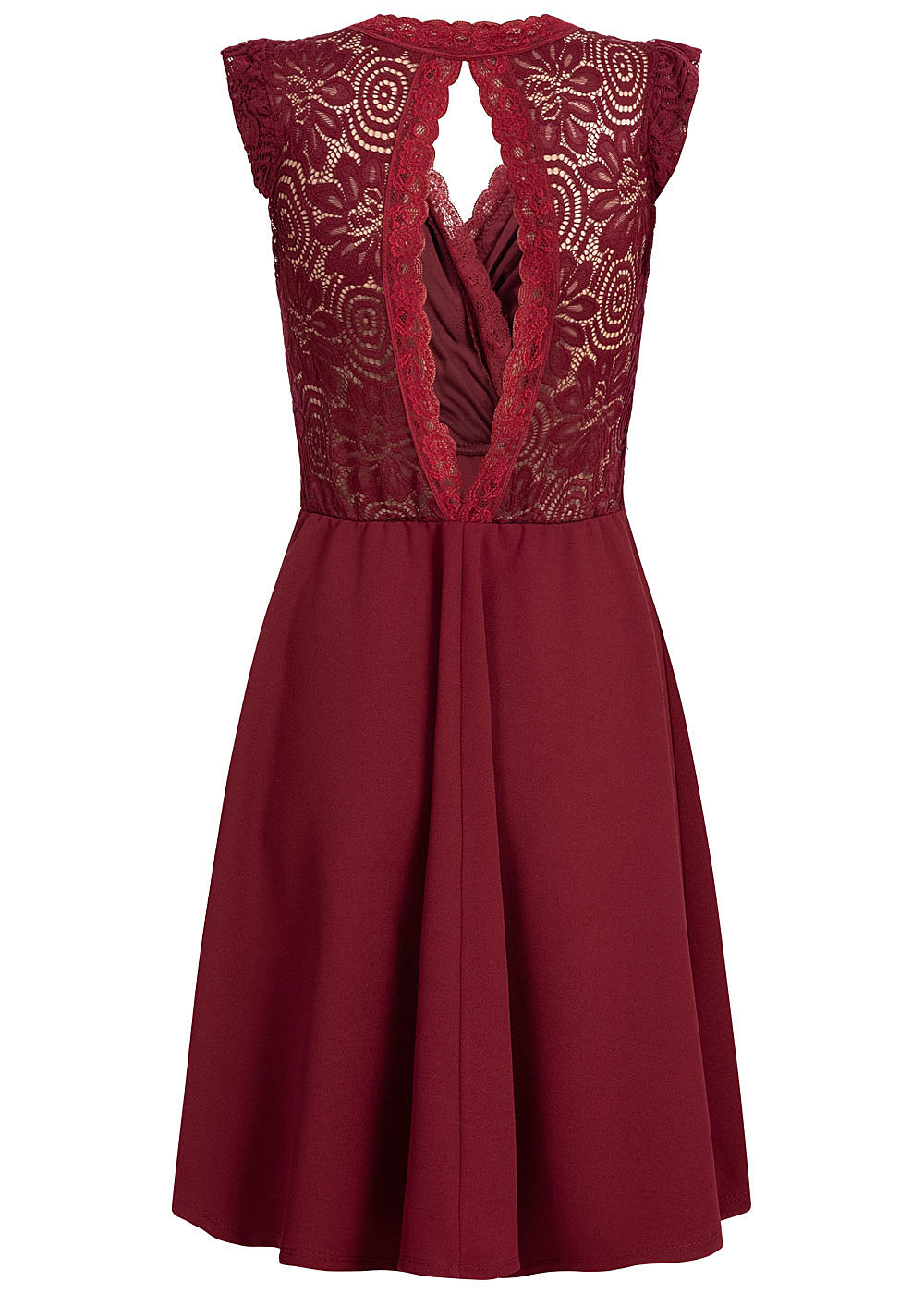 Styleboom Fashion Damen Mini Kleid Spitzen Details Brustpads bordeaux rot