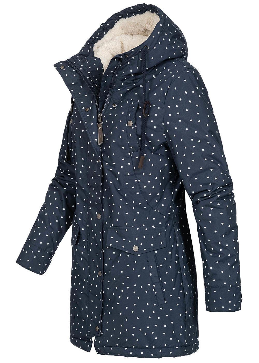 Damen Jacke Winter Blau Punkte 4 Hailys Navy Kapuze Muster Pockets Weiss Parka PuXTZOki