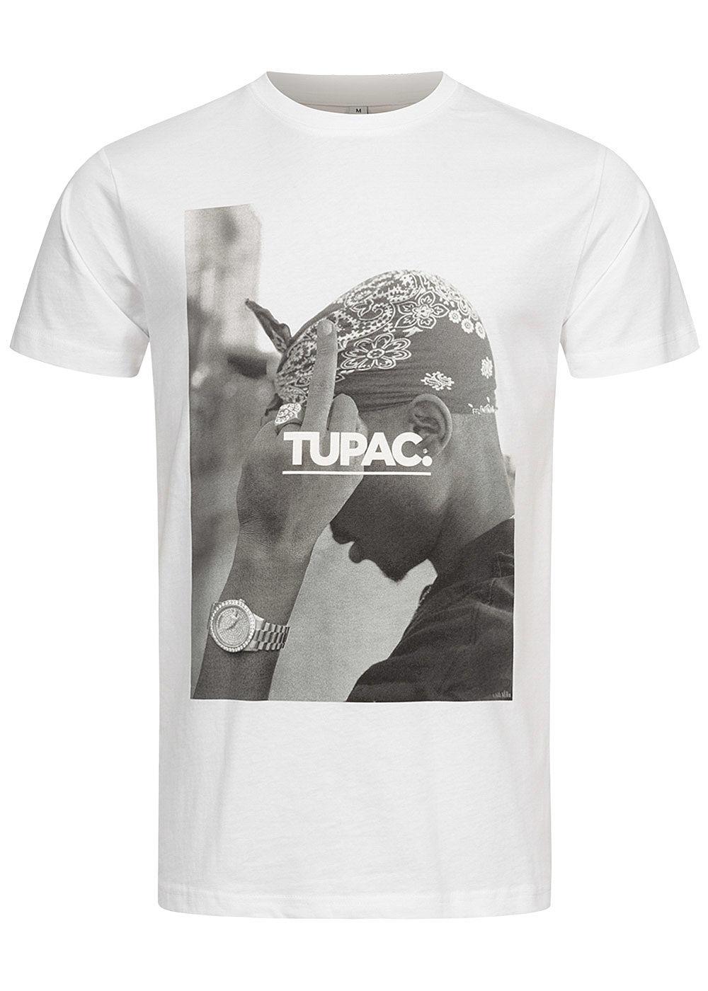 Mister Tee TB Herren T Shirt 2Pac Print weiss 77onlineshop