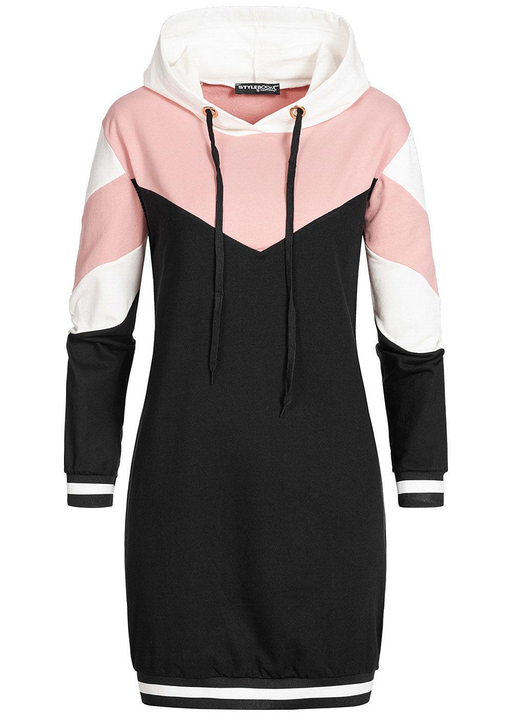 Styleboom Fashion Damen Colorblock Hoodie Kleid Kapuze weiss