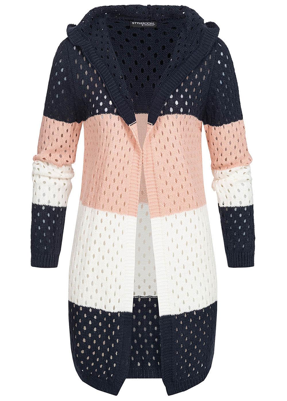 Styleboom Fashion Damen Colorblock Strick Cardigan Kapuze