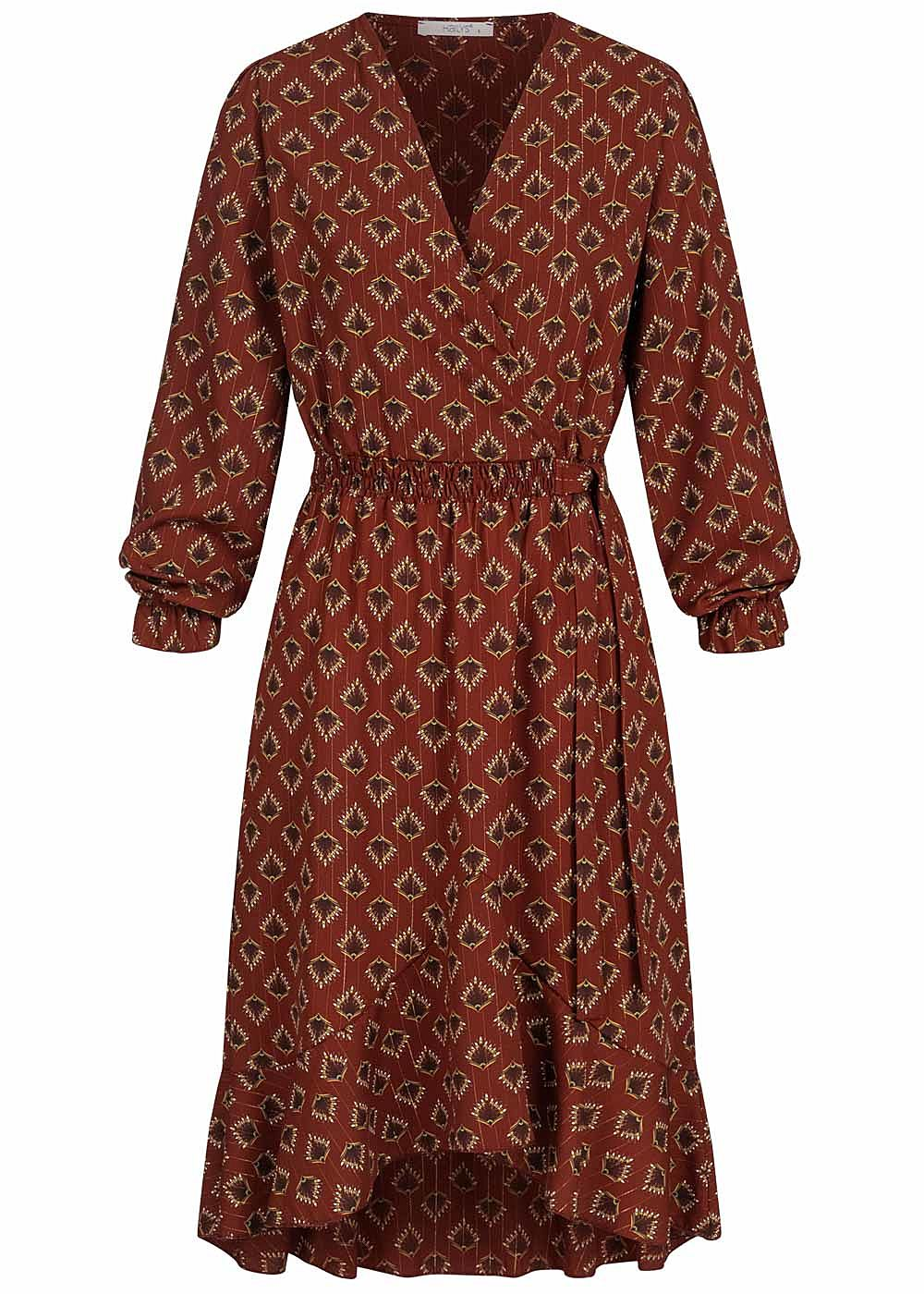Hailys Damen Chiffon V-Neck Midi Kleid Floraler Print caramel