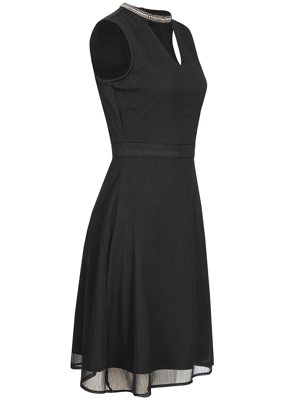 ONLY Damen V-Neck Choker Chiffon Kleid 18-lagig Schmuckapplikation schwarz
