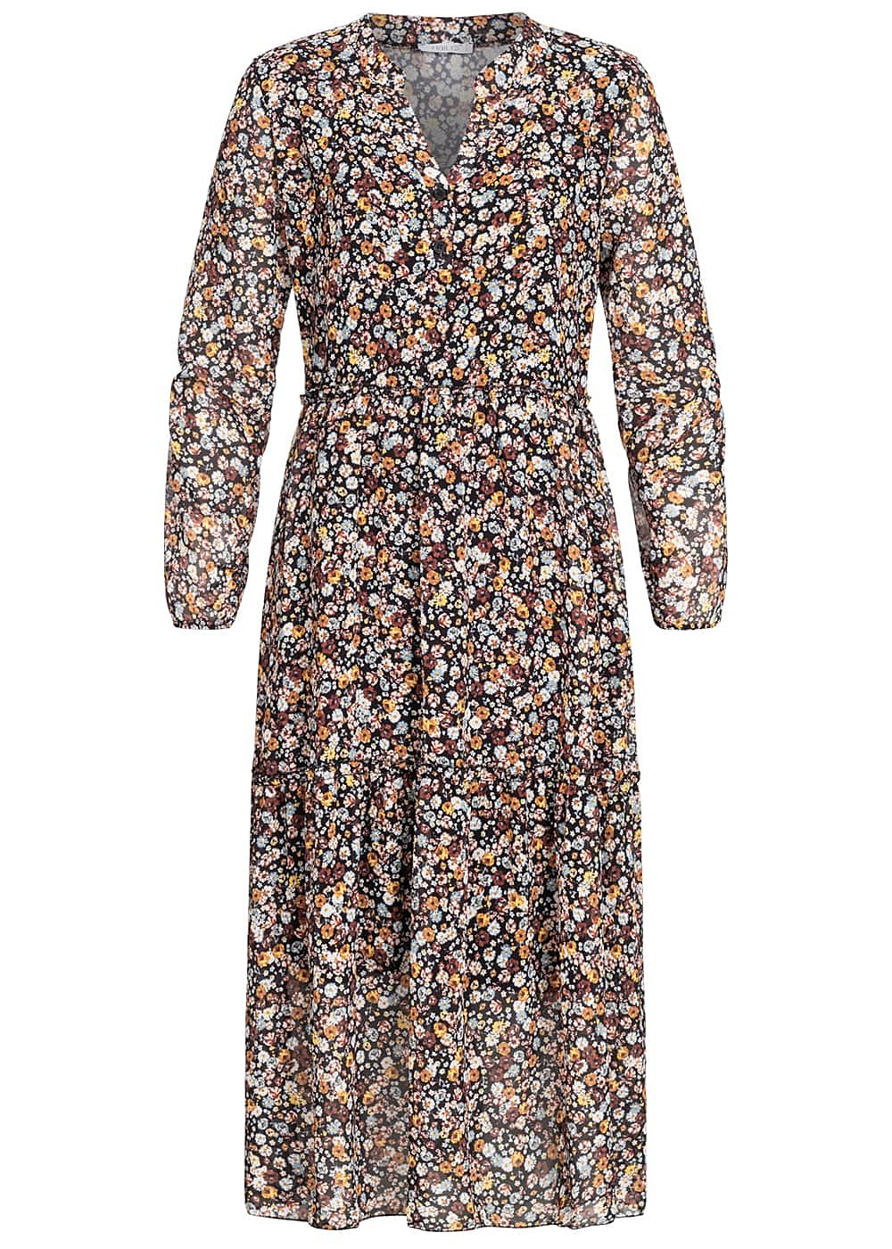 Hailys Damen V-Neck Midi Chiffon Kleid Blumen Print schwarz multicolor
