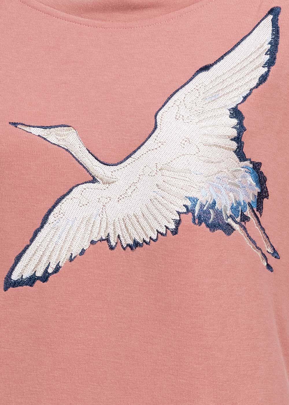 Rock Angel Damen Sweat Hoodie Kapuze 2 Pockets Vogel Patch ash rosa
