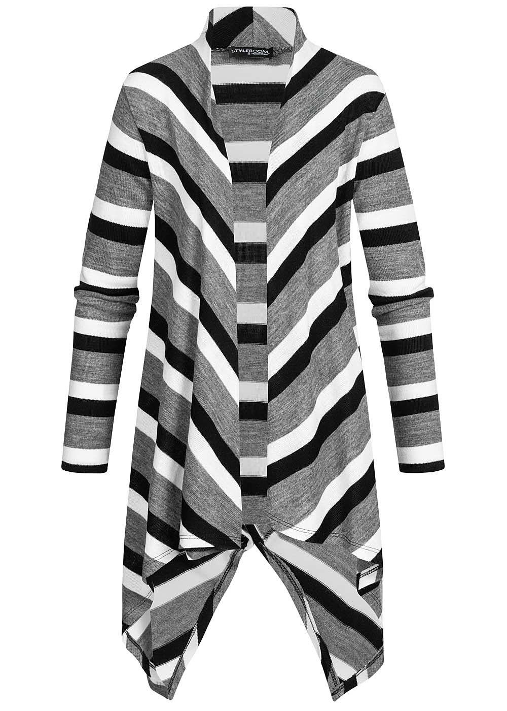 Styleboom Fashion Damen Draped Muster Cardigan Streifen grau