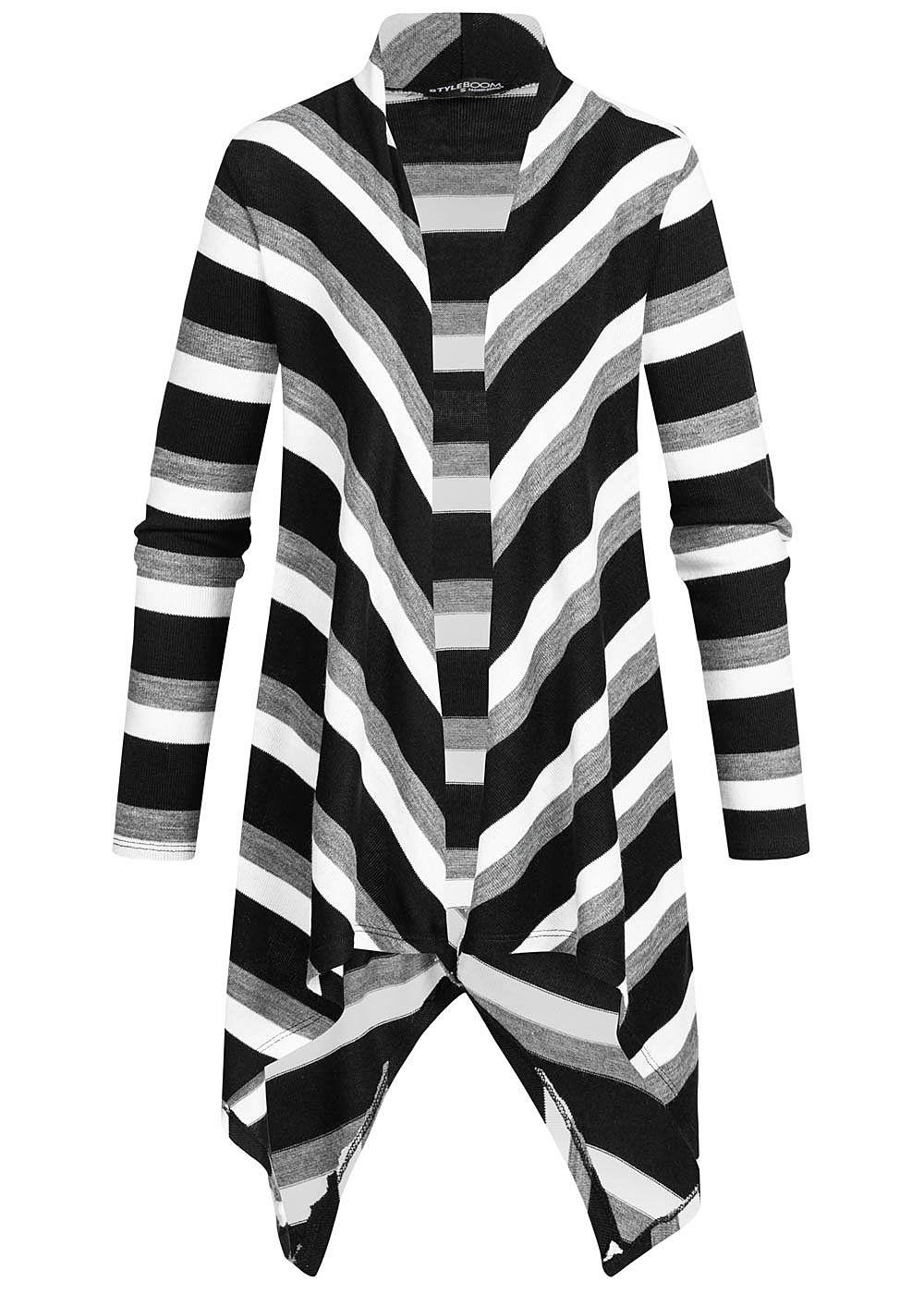 Styleboom Fashion Damen Draped Muster Cardigan Streifen