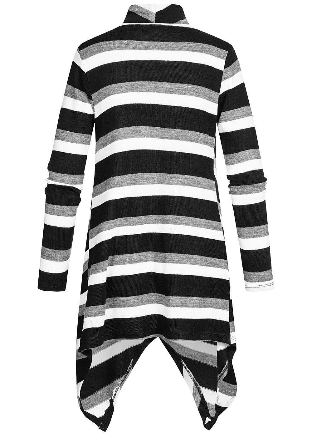 Styleboom Fashion Damen Draped Muster Cardigan Streifen schwarz weiss grau