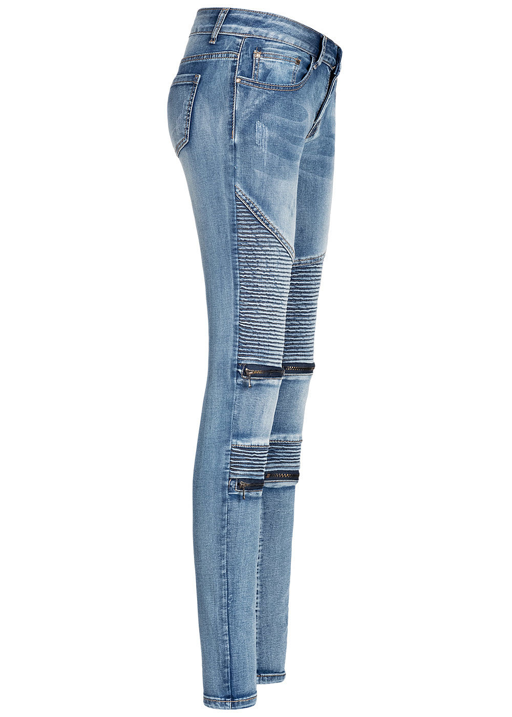 denim Seventyseven Pockets hell Damen Zip Lifestyle Biker 5 blau Jeans kOXiuPZ