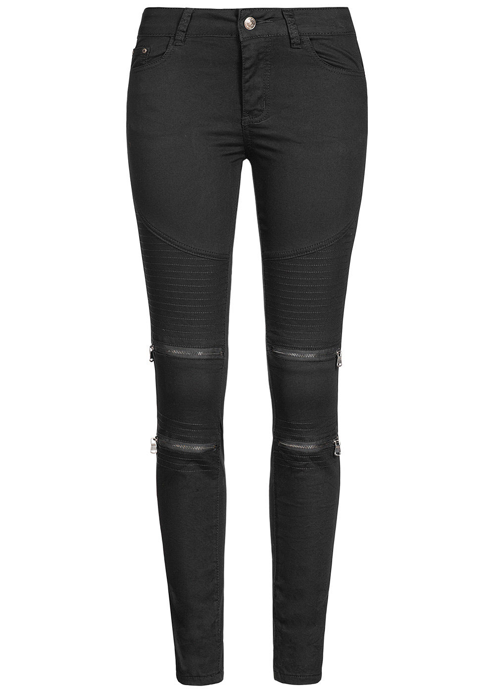 seventyseven lifestyle damen biker zip jeans 5 pockets schwarz denim 77onlineshop. Black Bedroom Furniture Sets. Home Design Ideas