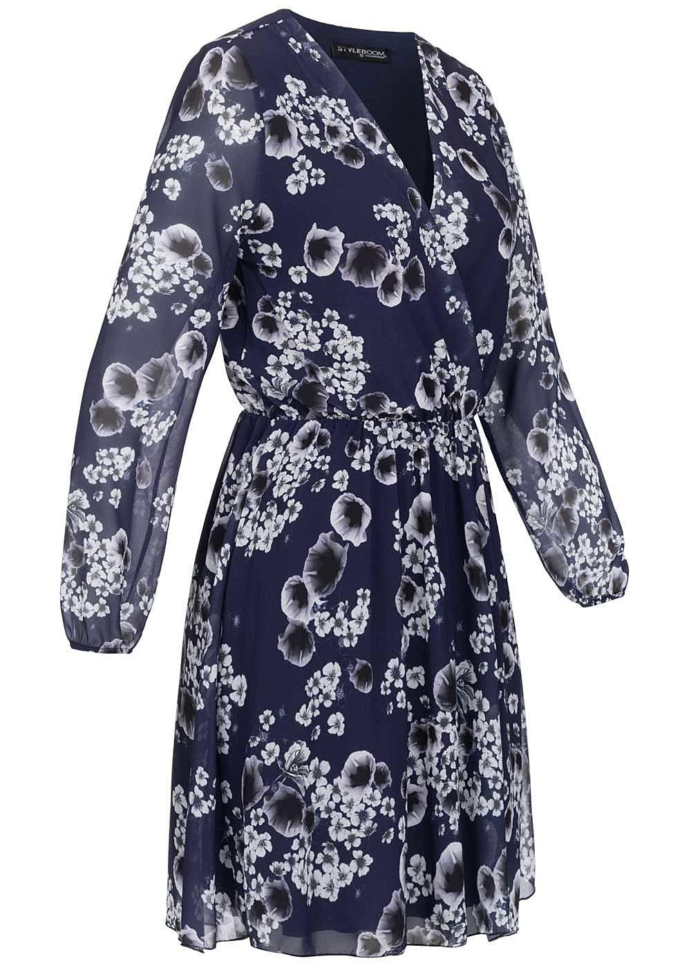 styleboom fashion damen v-neck chiffon mini kleid blumen print navy blau