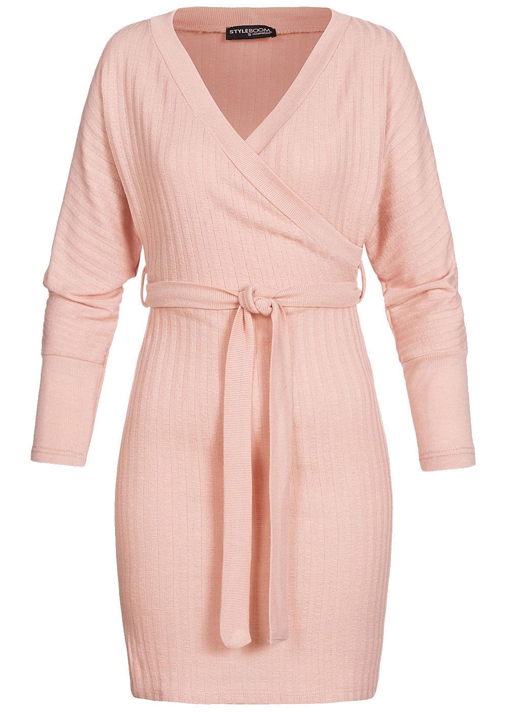 Styleboom Fashion Damen V Neck Kleid Wickel Optik mit
