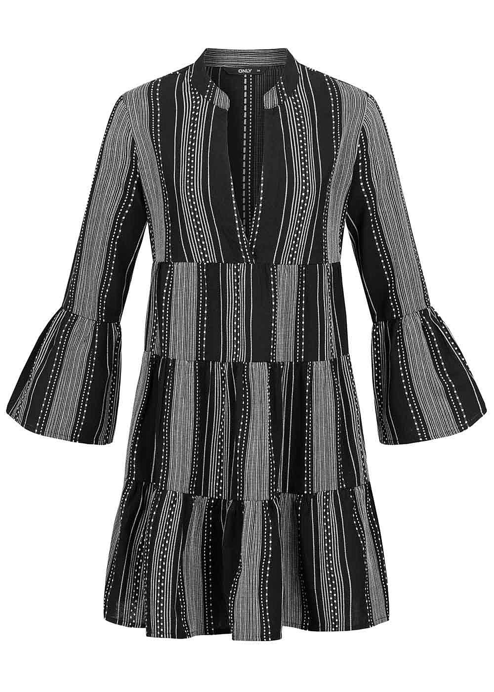 ONLY Damen 20/20 Arm V-Neck Puffer Kleid Streifenstickerei schwarz weiss