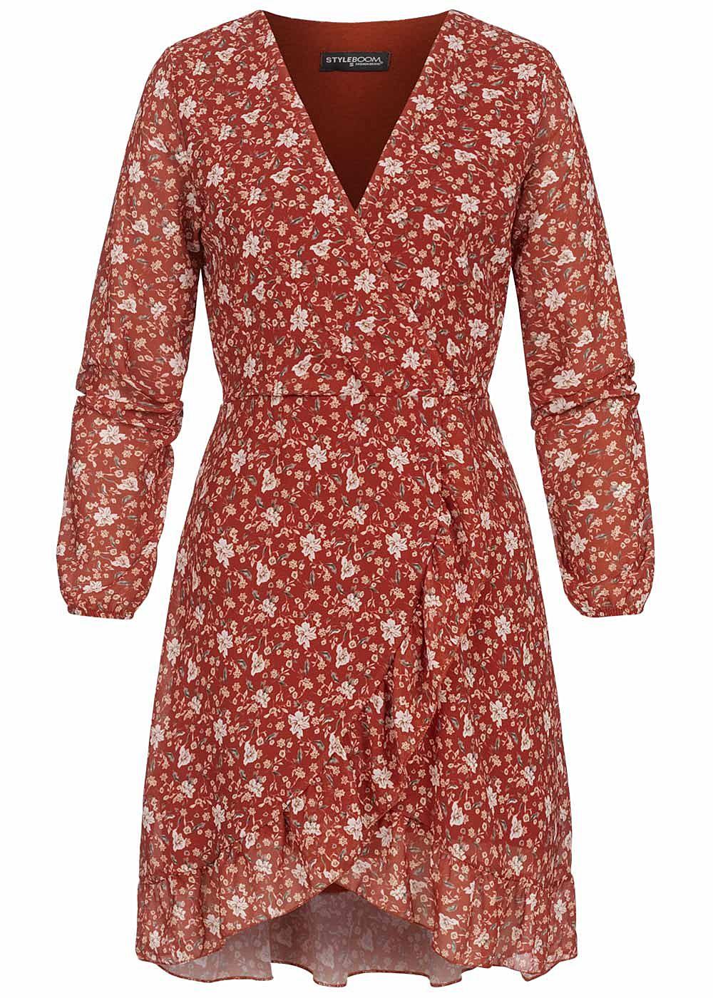 Styleboom Fashion Damen V-Neck Chiffon Kleid Blumen Print Wickel
