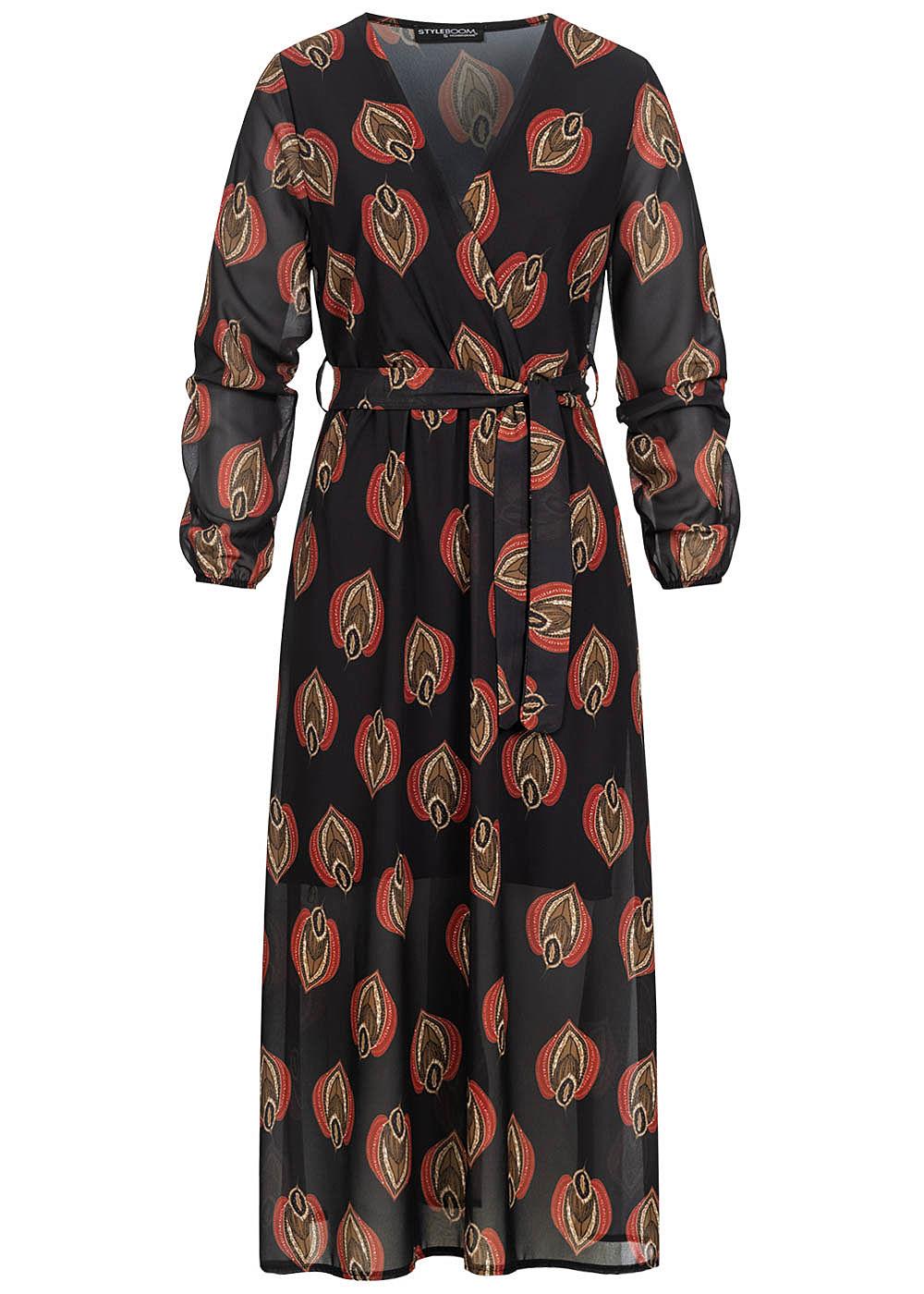 Styleboom Fashion Damen V-Neck Chiffon Midi Kleid inkl Gürtel