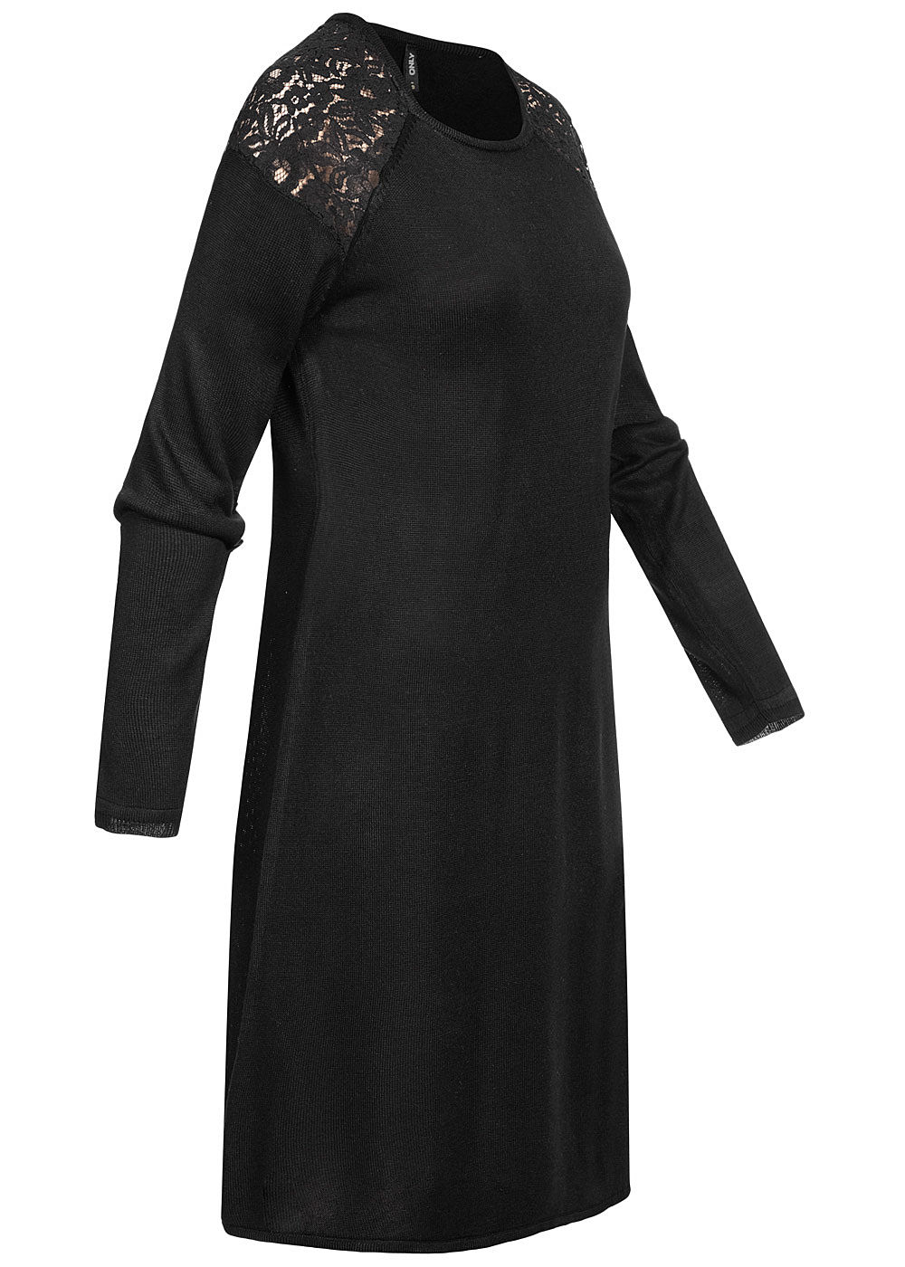 ONLY Damen Skater Strick Kleid mit Spitze schwarz ...
