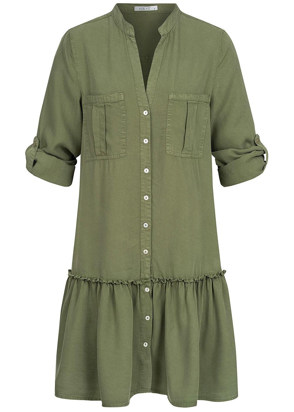 Hailys Damen V-Neck Turn-Up Kleid 17 Brusttaschen Knopfleiste khaki