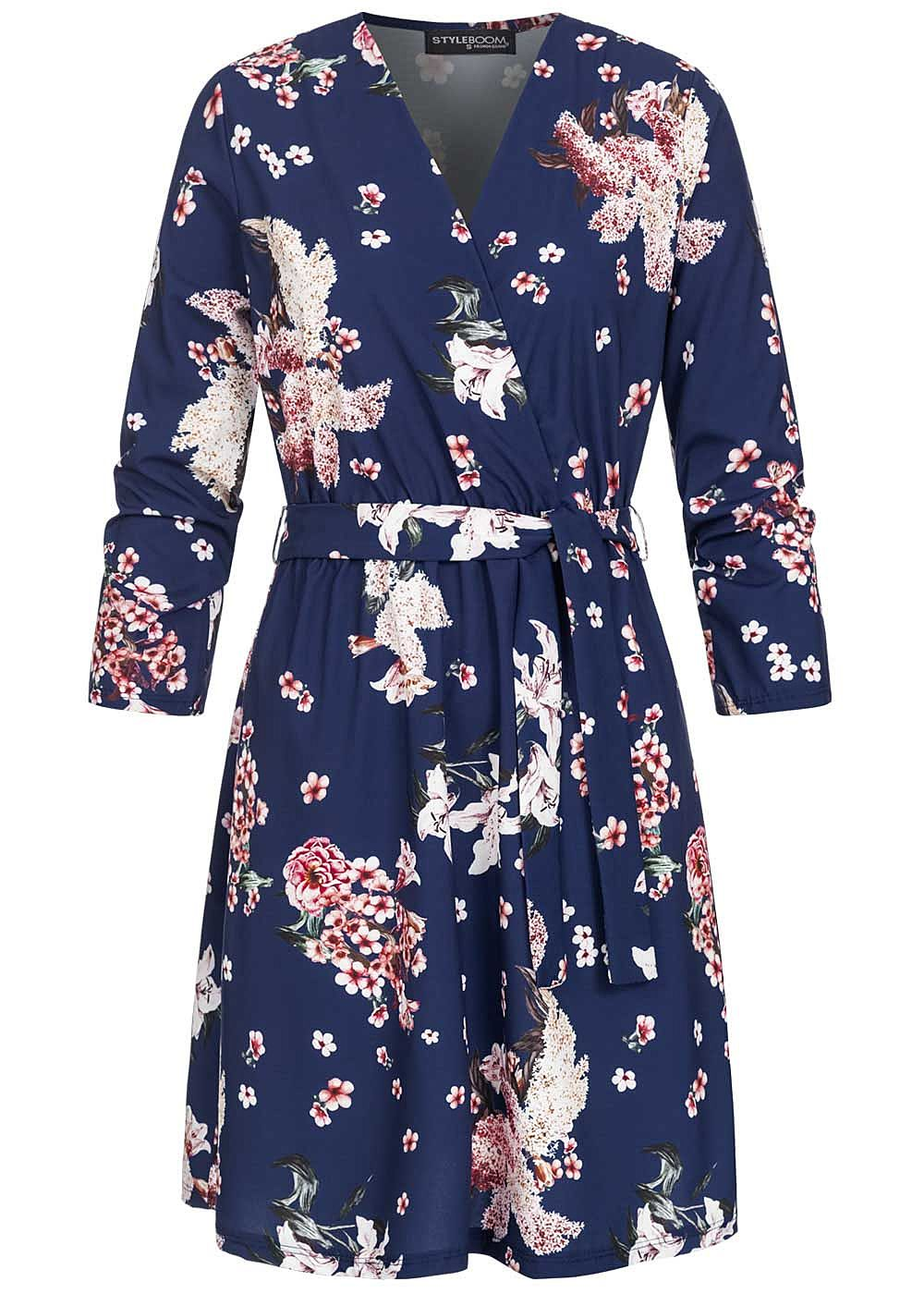 Styleboom Fashion Damen V-Neck Mini Kleid Blumen Print inkl