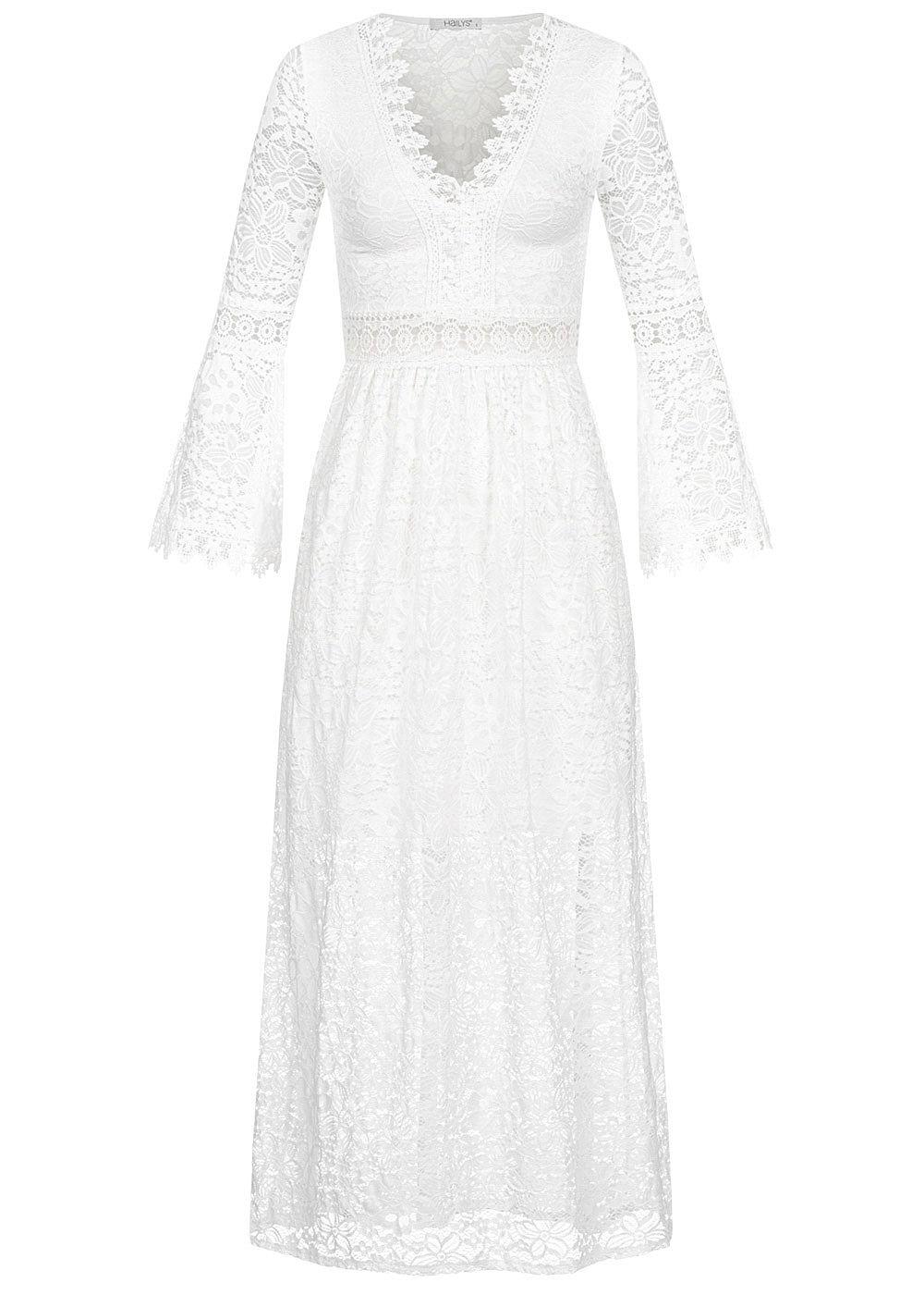 Hailys Damen Allover Spitzen Maxi Kleid V-Neck 17-lagig off weiss