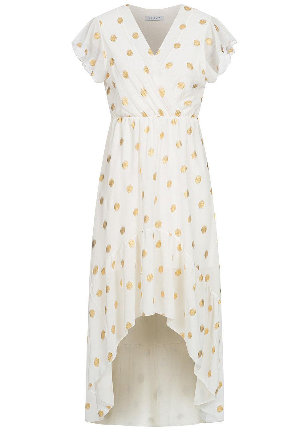 Hailys Damen V-Neck Chiffon Kleid Punkte Muster 17-lagig