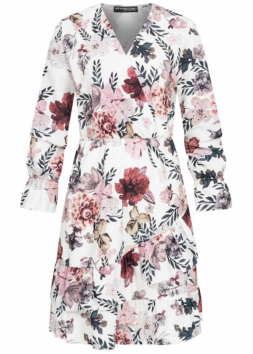 Styleboom Fashion Damen V-Neck Volant Kleid Blumen Print ...