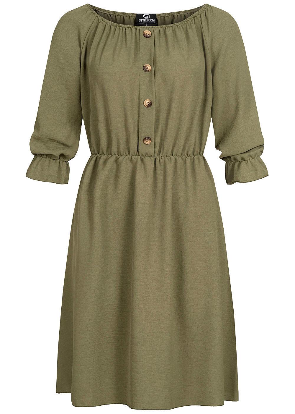 Styleboom Fashion Damen Mini Kleid Deko Knopfleiste khaki grün