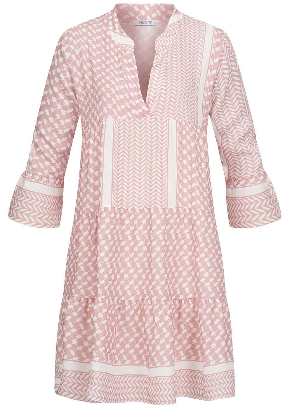 Hailys Damen V-Neck 118/18 Arm Puffer Kleid Allover Print rosa weiss