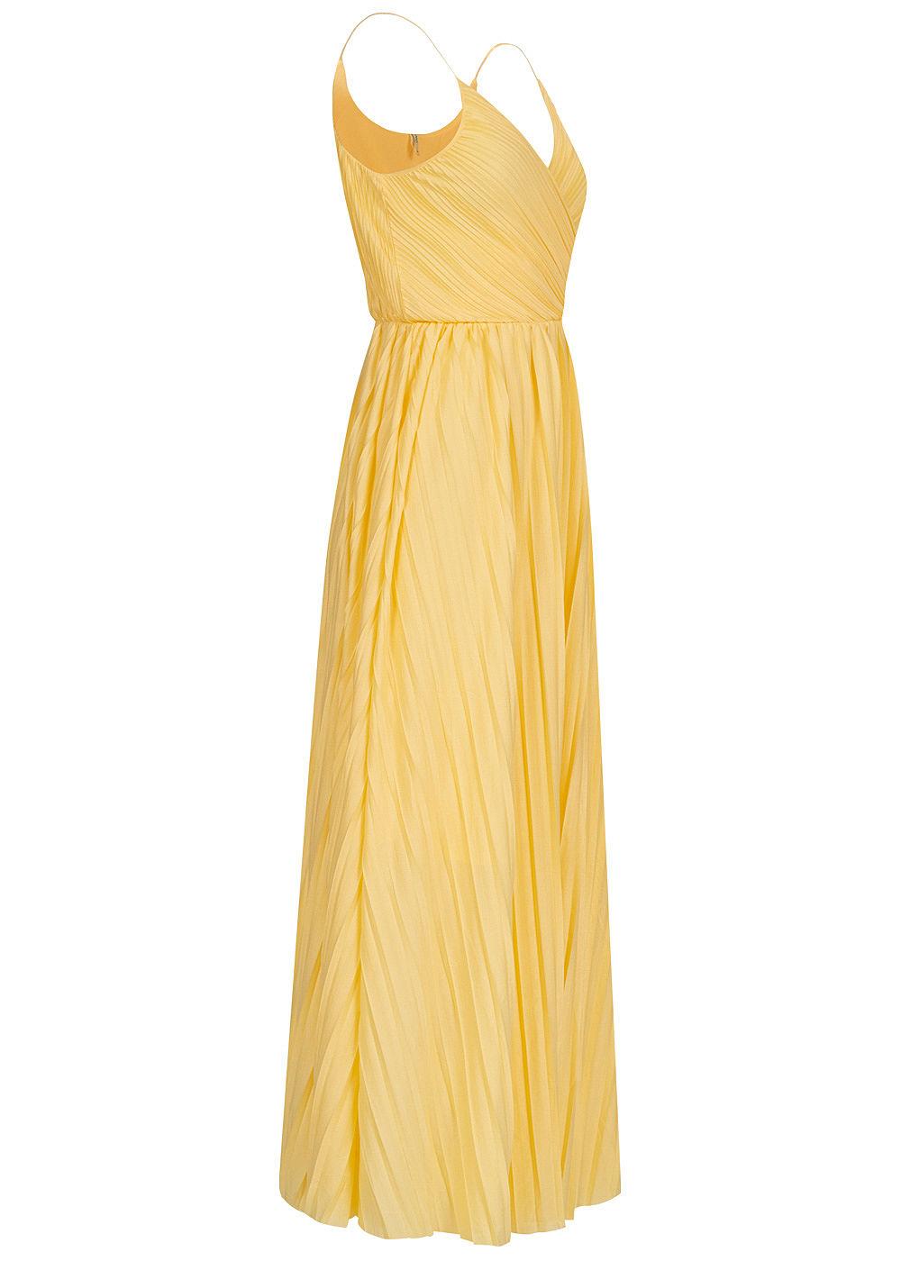 ONLY Damen V-Neck Maxi Kleid Wickeloptik mit Falten 11-lagig dusky citron  gelb